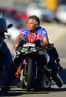 Oct. 27, 2012; Las Vegas, NV, USA: NHRA pro stock motorcycle rider Hector Arana Sr during qualifying for the Big O Tires Nationals at The Strip in Las Vegas. Mandatory Credit: Mark J. Rebilas-