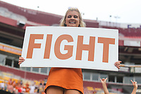 Landover, MD - September 1, 2018: Texas Longhorns cheerleader during the game between Texas and Maryland at  FedEx Field in Landover, MD.  (Photo by Elliott Brown/Media Images International)