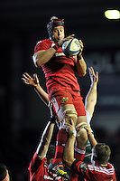 Donnacha Ryan of Munster Rugby wins the ball at a lineout. European Rugby Champions Cup match, between Leicester Tigers and Munster Rugby on December 20, 2015 at Welford Road in Leicester, England. Photo by: Patrick Khachfe / JMP