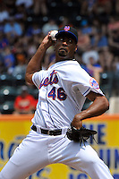 New York Mets pitcher Manny Acosta #46 during a game against the St. Louis Cardinals at Citi Field on July 21, 2011 in Queens, NY.  Cardinals defeated Mets 6-2.  Tomasso DeRosa/Four Seam Images