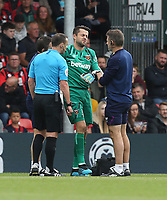 West Ham United's Lukasz Fabianski is forced off with an injury<br /> <br /> Photographer Rob Newell/CameraSport<br /> <br /> The Premier League - Bournemouth v West Ham United - Saturday 28th September 2019 - Vitality Stadium - Bournemouth<br /> <br /> World Copyright © 2019 CameraSport. All rights reserved. 43 Linden Ave. Countesthorpe. Leicester. England. LE8 5PG - Tel: +44 (0) 116 277 4147 - admin@camerasport.com - www.camerasport.com