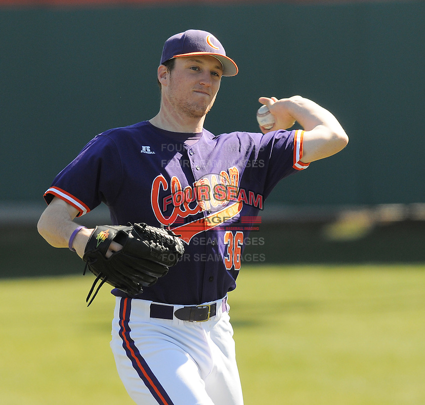 LHP Casey Harman (36) of the Clemson Tigers prior to a game against the Wright State Raiders Saturday, Feb. 27, 2011, at Doug Kingsmore Stadium in Clemson, S.C. Photo by: Tom Priddy/Four Seam Images