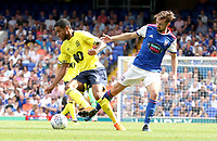 Blackburn Rovers' Dominic Samuel and Ipswich Town's Gwion Edwards<br /> <br /> Photographer Rachel Holborn/CameraSport<br /> <br /> The EFL Sky Bet Championship - Ipswich Town v Blackburn Rovers - Saturday 4th August 2018 - Portman Road - Ipswich<br /> <br /> World Copyright &copy; 2018 CameraSport. All rights reserved. 43 Linden Ave. Countesthorpe. Leicester. England. LE8 5PG - Tel: +44 (0) 116 277 4147 - admin@camerasport.com - www.camerasport.com