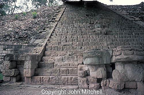 The Hieroglyphic Stairway at the Maya ruins of Copan, Honduras