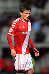 Jelle Vossen of Middlesbrough plays on in a bloodied shirt - Middlesbrough vs. Leeds United - Skybet Championship - Riverside Stadium - Middlesbrough - 21/02/2015 Pic Philip Oldham/Sportimage