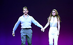 Andy Karl and Samantha Barks during the Curtain Call for the Garry Marshall Tribute Performance of 'Pretty Woman:The Musical' at the Nederlander Theatre on August 2, 2018 in New York City.
