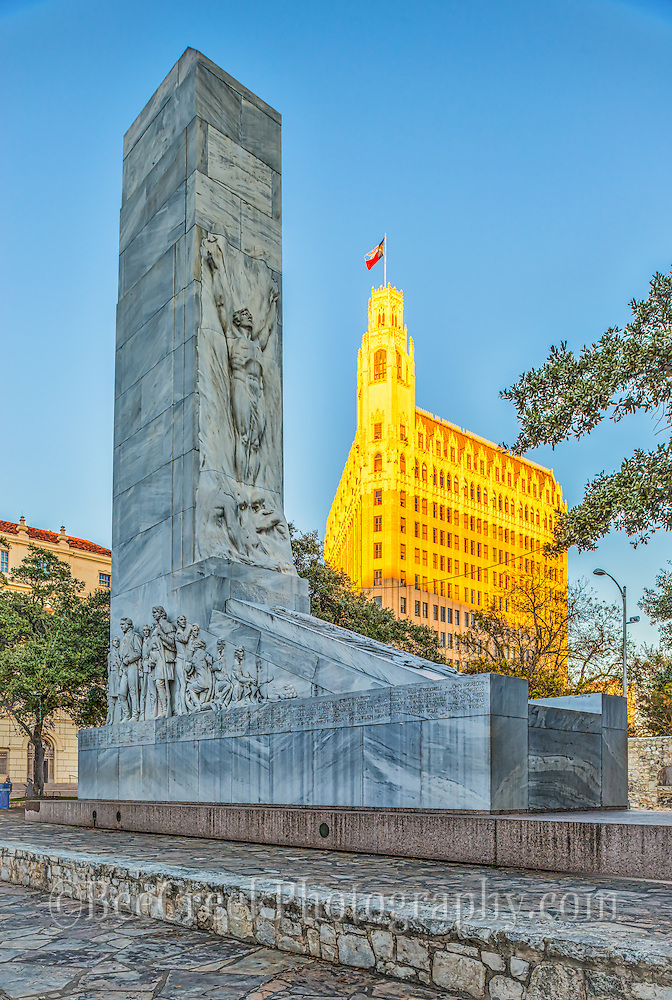 Monument of Heros in San Antonio outside of the Alamo.