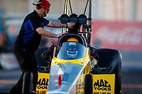 Feb 1, 2018; Chandler, AZ, USA; Crew member with NHRA top fuel driver Richie Crampton during Nitro Spring Training pre season testing at Wild Horse Pass Motorsports Park. Mandatory Credit: Mark J. Rebilas-USA TODAY Sports
