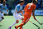 The Hague, Netherlands, June 01: Rey Lucas #8 of Argentina defends against Floris van der Linden #3 of the The Netherlands during the field hockey group match (Men - Group B) between The Netherlands and Argentina on June 1, 2014 during the World Cup 2014 at Kyocera Stadium in The Hague, Netherlands. Final score 3:1 (1:1) (Photo by Dirk Markgraf / www.265-images.com) *** Local caption ***