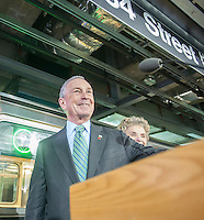 NYC Mayor Michael Bloomberg at the new 34th Street-Hudson Yards terminal station on the 7 Subway line extension in New York on Friday, December 20, 2013. The new tunnel from Times Square, which will open in the Fall of 2014,  terminates 108 feet below street level at West 34th Street and Eleventh Avenue rat the doorstep of the rezoned 45 block Hudson Yards development. (© Richard B. Levine)