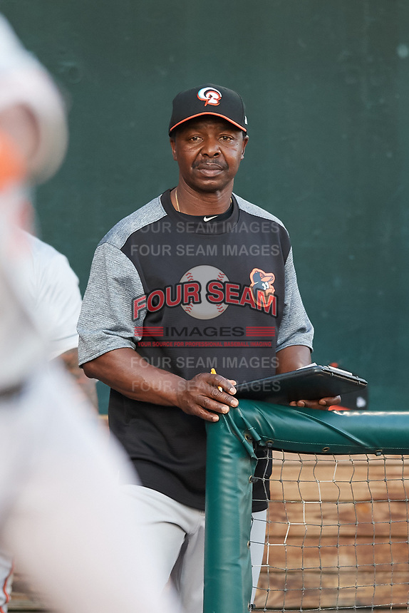 Bowie Baysox hitting coach Butch Davis (13) during a game against the Harrisburg Senators on May 16, 2017 at FNB Field in Harrisburg, Pennsylvania.  Bowie defeated Harrisburg 6-4.  (Mike Janes/Four Seam Images)