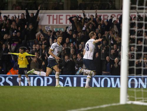 01.01.2015.  London, England. Barclays Premier League. Tottenham versus Chelsea. Tottenham Hotspur's Harry Kane celebrates his second goal to make it 4-1.