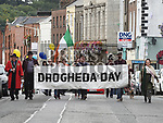 Mayor of Drogheda Frank Godfrey leads a march from West street to St. Laurence Gatet to celebrate Drogheda Day. Photo:Colin Bell/pressphotos.ie