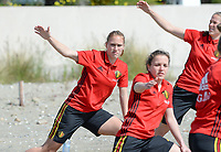20180302 - LARNACA , CYPRUS :  Belgian Janice Cayman (left) pictured during a Muscular warm up training session on the beach before a women's soccer game between The Belgian Red Flames and Spain , on friday 2 March 2018 on the CTO Beach in Larnaca , Cyprus . The game will be the second game in group B for Belgium during the Cyprus Womens Cup , a prestigious women soccer tournament as a preparation on the World Cup 2019 qualification duels. PHOTO SPORTPIX.BE | DAVID CATRY