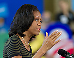 September 28, 2012- Appleton, United States: First Lady Michelle Obama speaks to a large crowd of grassroots supporters at Lawrence University in Appleton, Wisconsin. (Christina Capasso/Polaris)