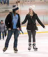 """With encouragement from Devon Bell, of Sarnia,  Shannon Wheat made her first skate since childhood at the Clearwater Arena. The pair joined a healthy crowd of avid skaters during the free adult skate which are held Monday through Thursday mornings. """"It's the first time I skated since I was a kid,"""" Shannon said."""