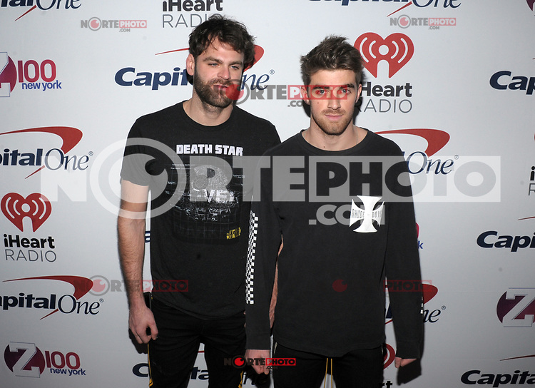 NEW YORK, NY - DECEMBER 8: Alex Pall and Andrew Taggart of The Chainsmokers at Z100's Jingle Ball 2017 at Madison Square Garden in New York City, Credit: John Palmer/MediaPunch /nortephoto.com NORTEPHOTOMEXICO
