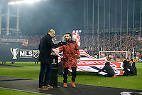 Toronto, ON, Canada - Saturday Dec. 10, 2016: Kasey Keller, Dwayne De Rosario prior to the MLS Cup finals at BMO Field. The Seattle Sounders FC defeated Toronto FC on penalty kicks after playing a scoreless game.