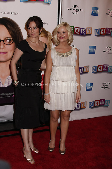 WWW.ACEPIXS.COM . . . . .  ....April 23, 2008. New York City.....Actresses Tiny Fey and Amy Poehler attends the 7th Annual Tribeca Film Festival 'Baby Mama' Premiere at the Ziegfeld Theatre. ......Please byline: AJ Sokalner - ACEPIXS.COM.... *** ***..Ace Pictures, Inc:  ..Philip Vaughan (646) 769 0430..e-mail: info@acepixs.com..web: http://www.acepixs.com