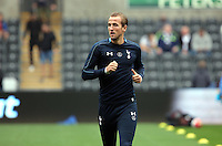 Harry Kane of Tottenham Hotspur warms up before the Barclays Premier League match between Swansea City and Tottenham Hotspur played at The Liberty Stadium, Swansea on October 4th 2015