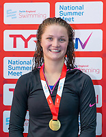 Picture by Allan McKenzie/SWpix.com - 05/08/2017 - Swimming - Swim England National Summer Meet 2017 - Ponds Forge International Sports Centre, Sheffield, England - Emily Cutler takes gold in the womens 17yrs & over 100m backstroke.