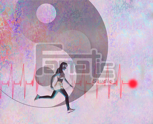 Concept image of female runner and heart beat in front of yin yang symbol depicting health and exercise