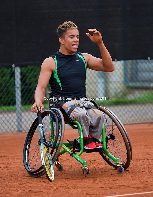 August 6, 2014, Netherlands, Rotterdam, TV Victoria, Tennis, National Junior Championships, NJK, Wheelchair final:  Carlos Anker(NED)<br /> Photo: Tennisimages/Henk Koster