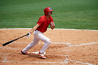 Clearwater Threshers center fielder Mark Laird (6) follows through on a swing during the first game of a doubleheader against the Lakeland Flying Tigers on June 14, 2017 at Spectrum Field in Clearwater, Florida.  Lakeland defeated Clearwater 5-1.  (Mike Janes/Four Seam Images)