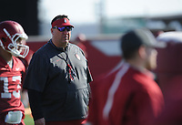 NWA Democrat-Gazette/ANDY SHUPE<br /> Arkansas coach Bret Bielema watches Tuesday, March 28, 2017, during spring practice at the UA practice facility in Fayetteville.