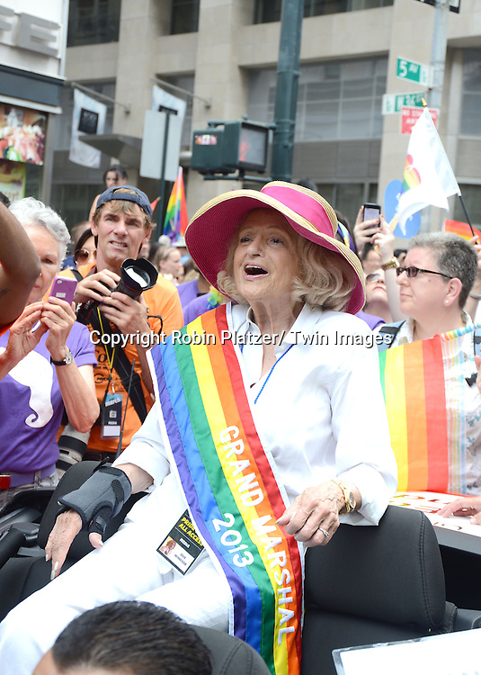 Edie Windsor attends the NYC 2013 Gay Pride Parade on June 30, 2013 on Fifth Avenue in New York City. The 3 Grand Marshalls were Harry Belafonte, Edie Windsor and <br /> Earl Fowlkes.