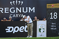 Paul Dunne (IRL) tees off the 18th tee during Friday's Round 2 of the 2018 Turkish Airlines Open hosted by Regnum Carya Golf &amp; Spa Resort, Antalya, Turkey. 2nd November 2018.<br /> Picture: Eoin Clarke | Golffile<br /> <br /> <br /> All photos usage must carry mandatory copyright credit (&copy; Golffile | Eoin Clarke)