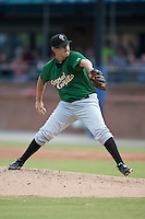 Savannah Sand Gnats starting pitcher Ricky Knapp #32 delivers a pitch during a game against the  Asheville Tourists at McCormick Field July 17, 2014 in Asheville, North Carolina. The Tourists defeated the Sand Gnats 8-7. (Tony Farlow/Four Seam Images)