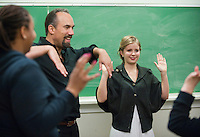 Roger Guenveur Smith '77 teaches an intensive class on performing short solo performances at Occidental College in Los Angeles on Thursday, February 4, 2011. The class performed their work during an open rehearsal. The award-winning actor, playwright, and director is the 2011 G. William Hume Fellow in the Performing Arts. (Photo by Marc Campos, Occidental College Photographer)