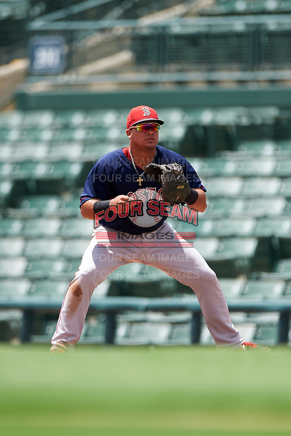 GCL Red Sox first baseman Rafael Oliveras (2) during a game against the GCL Orioles on August 16, 2016 at the Ed Smith Stadium in Sarasota, Florida.  GCL Red Sox defeated GCL Orioles 2-0.  (Mike Janes/Four Seam Images)
