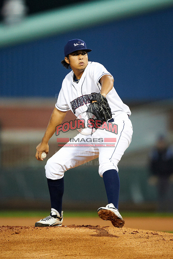 Mahoning Valley Scrappers pitcher Luis DeJesus #33 during the NY-Penn League All-Star Game at Eastwood Field on August 14, 2012 in Niles, Ohio.  National League defeated the American League 8-1.  (Mike Janes/Four Seam Images)