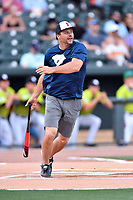 First baseman Ryan Klesko swings at  pitch during a game against the soldiers from Fort Jackson as part of the All Star Game festivities at Spirit Communications Park on June 19, 2017 in Columbia, South Carolina. The soldiers from Fort Jackson defeated the Celebrities 1-0. (Tony Farlow/Four Seam Images)