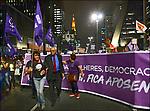 Eduardo Suplicy. Manifestaçao Dia Internacional da Mulher, Avenida Paulista, Sao Paulo. 2018. Foto © Juca Martins.