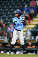 Charlotte Stone Crabs third baseman Juniel Querecuto (3) at bat during a game against the Bradenton Marauders on April 20, 2015 at McKechnie Field in Bradenton, Florida.  Charlotte defeated Bradenton 6-2.  (Mike Janes/Four Seam Images)