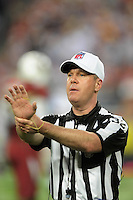 Dec 6, 2009; Glendale, AZ, USA; NFL referee John Parry during the game between the Arizona Cardinals against the Minnesota Vikings at University of Phoenix Stadium. The Cardinals defeated the Vikings 30-17. Mandatory Credit: Mark J. Rebilas-