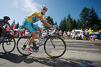 Vincenzo Nibali (ITA/Astana) leading the race up the final climb to Chamrousse (1730m/18.2km/7.3%)<br /> <br /> 2014 Tour de France<br /> stage 13: Saint-Eti&egrave;nne - Chamrousse (197km)