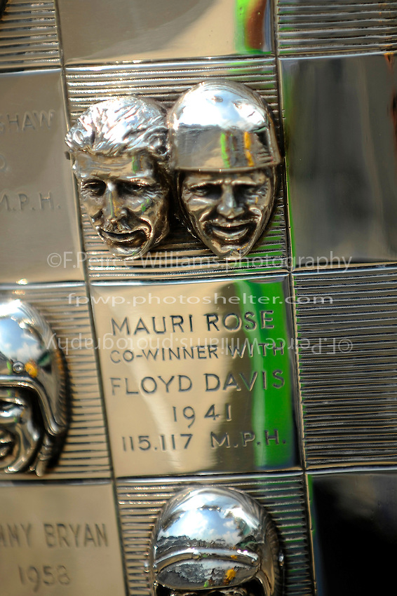 The likeness of 1941 Indianapolis 500 Winners Floyd Davis & Mauri Rose on the Borg-Warner Trophy.