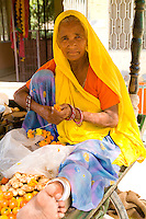Portrait of older woman. Hindu vendor in Jaipur Rajasthan, India