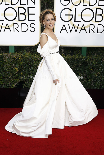 www.acepixs.com<br /> <br /> January 8 2017, LA<br /> <br /> Sarah Jessica Parker arriving at the 74th Annual Golden Globe Awards at the Beverly Hilton Hotel on January 8, 2017 in Beverly Hills, California.<br /> <br /> By Line: Famous/ACE Pictures<br /> <br /> <br /> ACE Pictures Inc<br /> Tel: 6467670430<br /> Email: info@acepixs.com<br /> www.acepixs.com