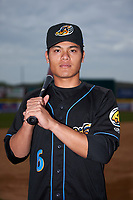 Akron RubberDucks Yu-Cheng Chang (6) poses for a photo before a game against the Binghamton Rumble Ponies on May 12, 2017 at NYSEG Stadium in Binghamton, New York.  Akron defeated Binghamton 5-1.  (Mike Janes/Four Seam Images)