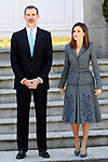 King Felipe VI of Spain and Queen Letizia of Spain receive the President of the Republic of Portugal, Mr. Marcelo Rebelo de Sousa during his official visit to Spain. April 16 ,2018. (ALTERPHOTOS/Acero)