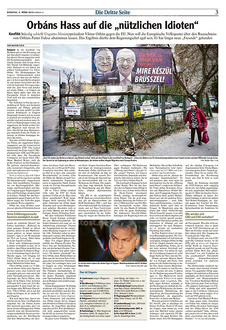 Augsburger Allgemeine (German daily) on EU-Hungarian relations under Viktor Orban. Budapest, Hungary, 03.2019.<br />