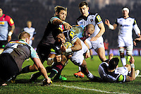 Amanaki Mafi of Bath Rugby reaches for the try-line. Aviva Premiership match, between Harlequins and Bath Rugby on March 11, 2016 at the Twickenham Stoop in London, England. Photo by: Patrick Khachfe / Onside Images