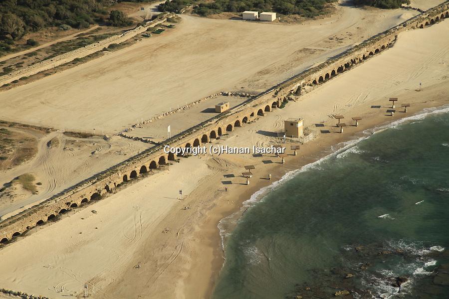 Israel, Sharon region, an aerial view of the Roman Upper Aqueduct In Caesarea