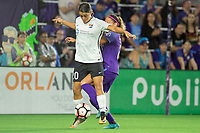 Orlando, FL - Saturday August 12, 2017: Samantha Kerr, Monica Hickmann Alves during a regular season National Women's Soccer League (NWSL) match between the Orlando Pride and Sky Blue FC at Orlando City Stadium.