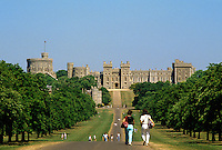 Windsor Castle, Berkshire, England. The castle was founded by William the Conqueror in 11th Century and was rebuilt under Henry II.  Since the Civil War it has been a royal residence.  View down the Long Walk..